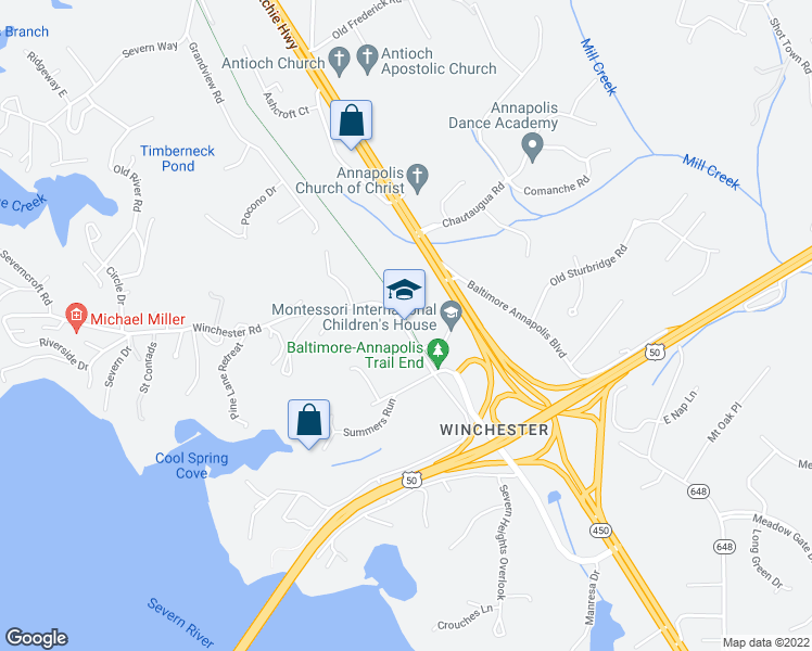 map of restaurants, bars, coffee shops, grocery stores, and more near 1630 Winchester Road in Annapolis