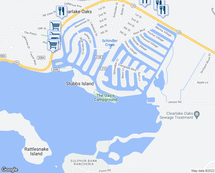 map of restaurants, bars, coffee shops, grocery stores, and more near 13028 Keys Boulevard in Clearlake Oaks