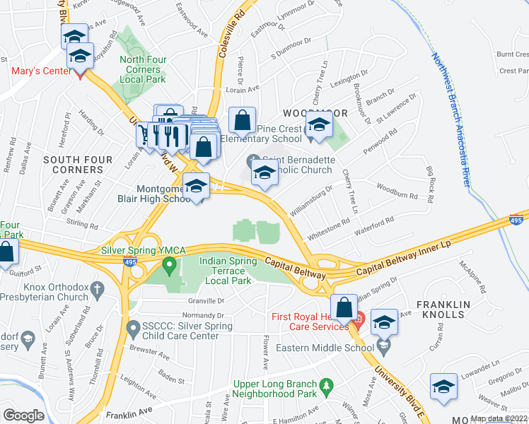 map of restaurants, bars, coffee shops, grocery stores, and more near 51 University Boulevard East in Silver Spring