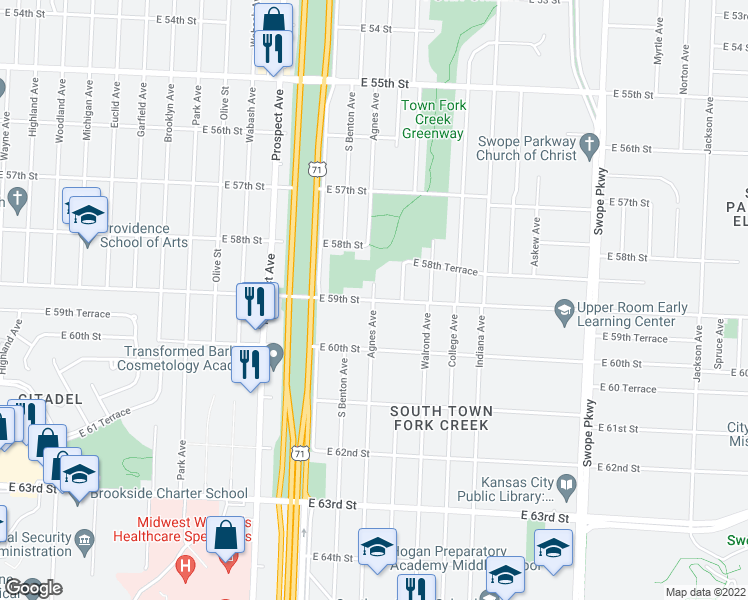 map of restaurants, bars, coffee shops, grocery stores, and more near Agnes Ave in Kansas City