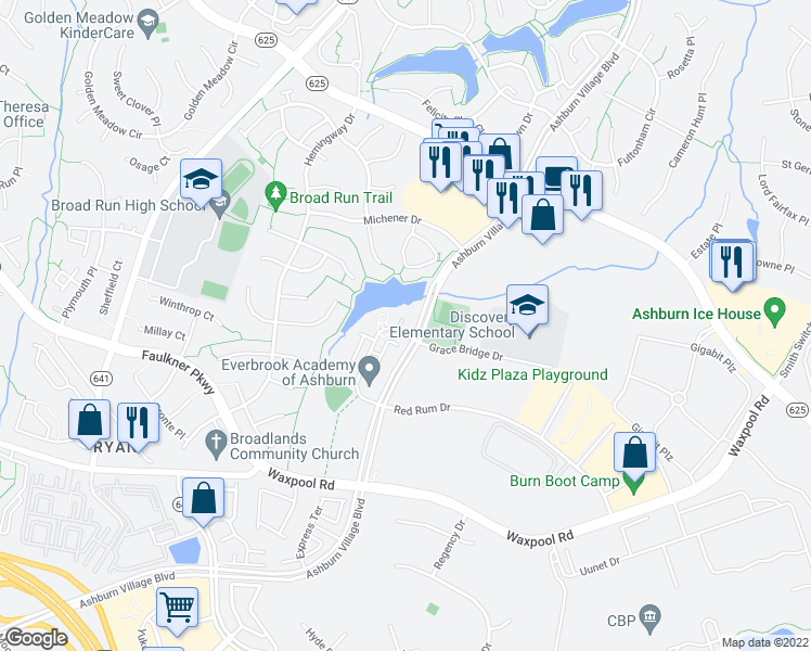 map of restaurants, bars, coffee shops, grocery stores, and more near 21574 Zuknick Terrace in Ashburn