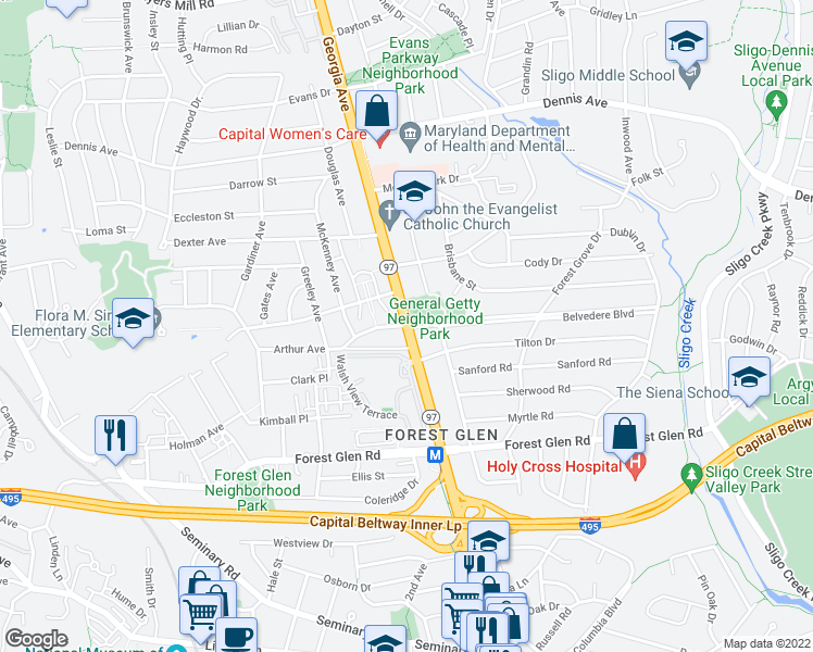 map of restaurants, bars, coffee shops, grocery stores, and more near 2001-2005 Belvedere Boulevard in Silver Spring