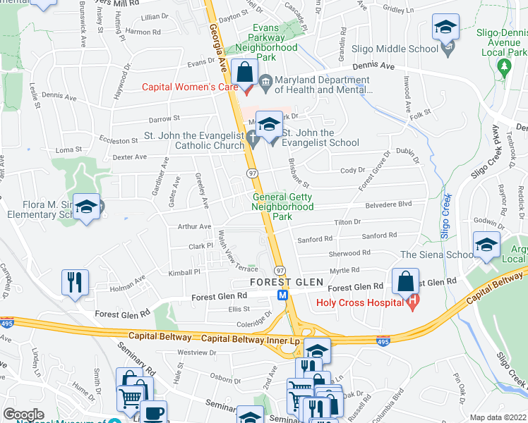 map of restaurants, bars, coffee shops, grocery stores, and more near 2106 Belvedere Blvd in Silver Spring