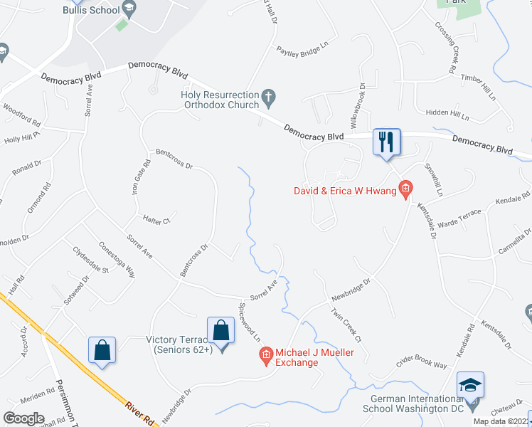 map of restaurants, bars, coffee shops, grocery stores, and more near 9704 Sorrel Avenue in Rockville