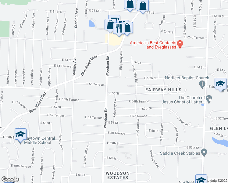 map of restaurants, bars, coffee shops, grocery stores, and more near 11706 East 56 Street in Kansas City
