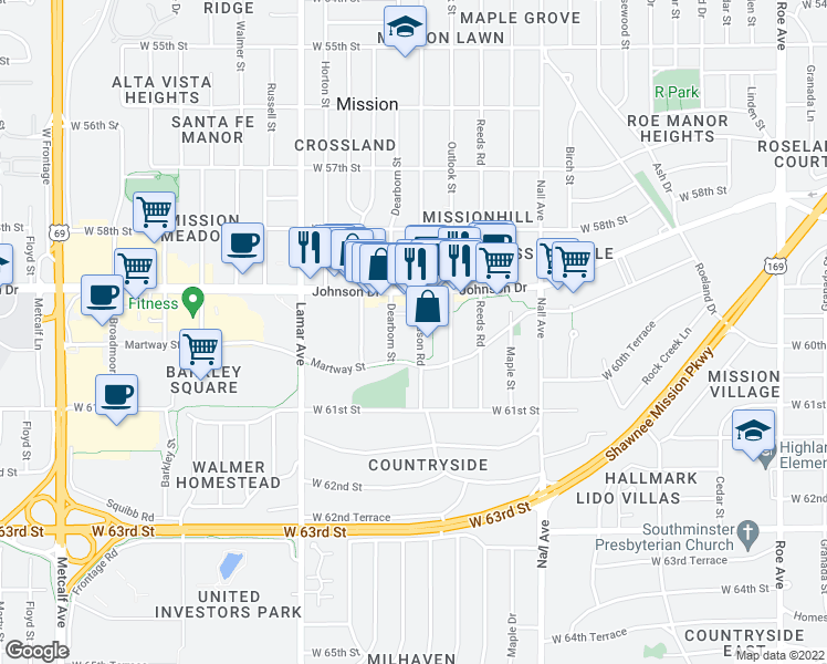 map of restaurants, bars, coffee shops, grocery stores, and more near 5934 Woodson Road in Mission