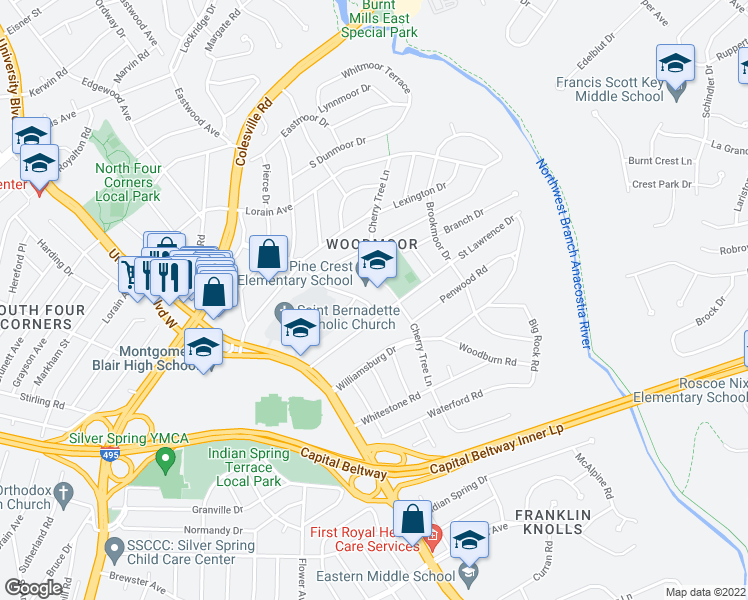 map of restaurants, bars, coffee shops, grocery stores, and more near 109-201 Woodmoor Drive in Silver Spring