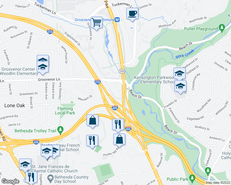 map of restaurants, bars, coffee shops, grocery stores, and more near 5133 King Charles Way in Bethesda