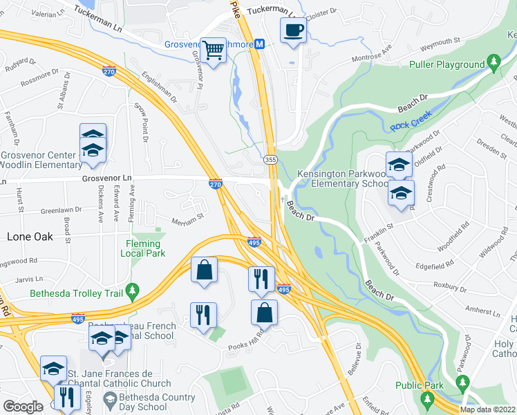 map of restaurants, bars, coffee shops, grocery stores, and more near 5341 King Charles Way in Bethesda