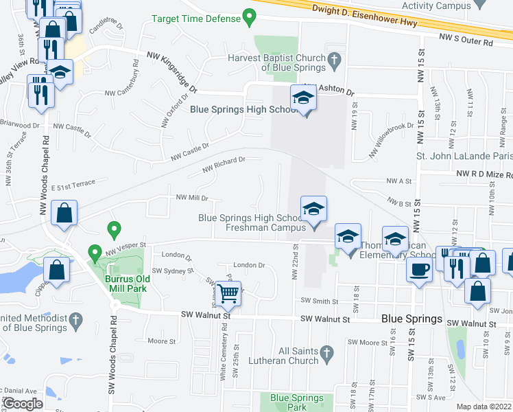 map of restaurants, bars, coffee shops, grocery stores, and more near Fox Hollow Ln in Blue Springs