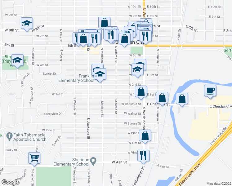map of restaurants, bars, coffee shops, grocery stores, and more near 115 North Adams Street in Junction City