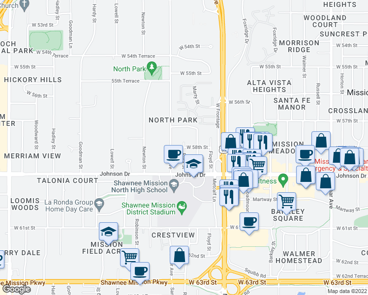 map of restaurants, bars, coffee shops, grocery stores, and more near 7399 West 58th Street in Overland Park