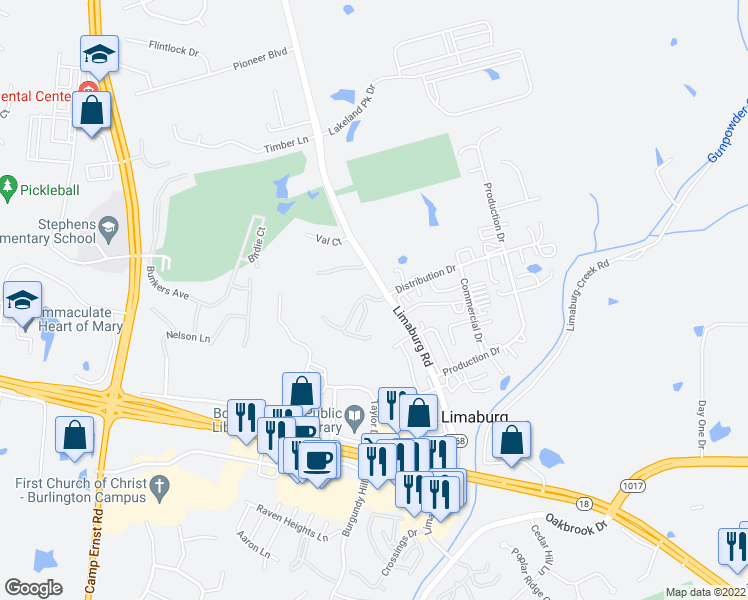 map of restaurants, bars, coffee shops, grocery stores, and more near 5637 Limaburg Road in Burlington