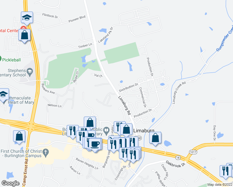 map of restaurants, bars, coffee shops, grocery stores, and more near 1735 Tanglewood Court in Burlington