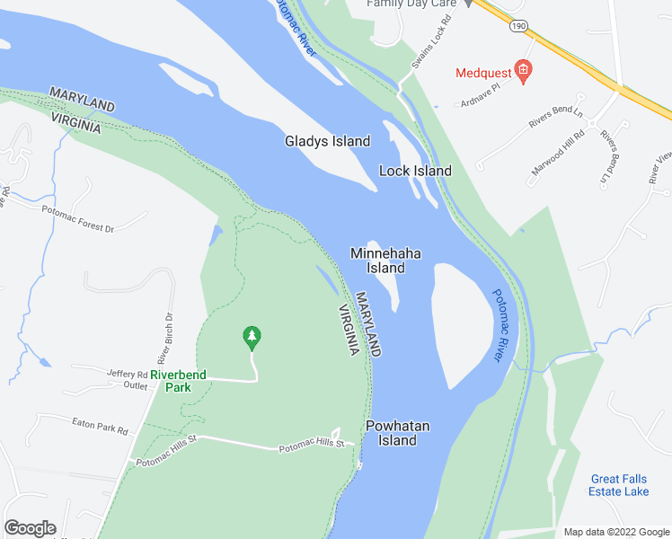 map of restaurants, bars, coffee shops, grocery stores, and more near Potomac Heritage Trail in Great Falls