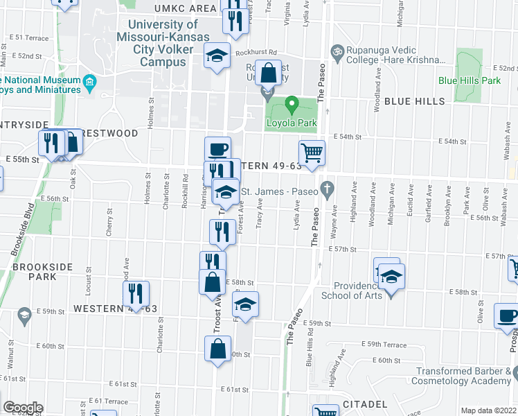 map of restaurants, bars, coffee shops, grocery stores, and more near Tracy Ave & E 56th St in Kansas City