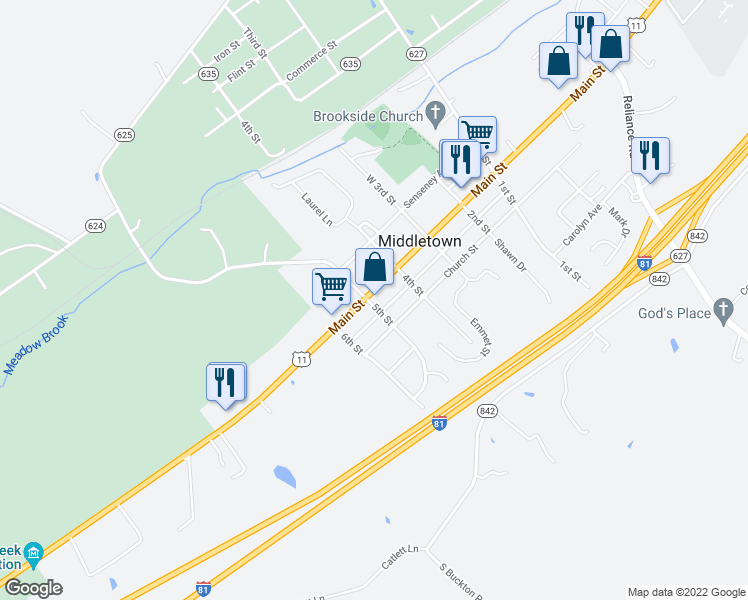 map of restaurants, bars, coffee shops, grocery stores, and more near 7984 Main Street in Middletown