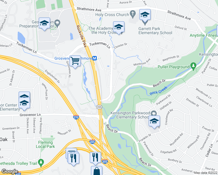 map of restaurants, bars, coffee shops, grocery stores, and more near 5204 Tuckerman Lane in North Bethesda