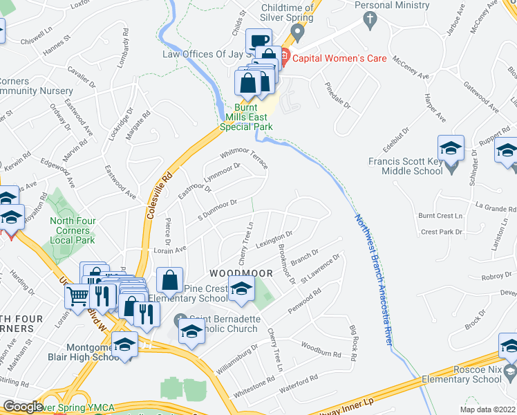 map of restaurants, bars, coffee shops, grocery stores, and more near 10702 Lorain Avenue in Silver Spring