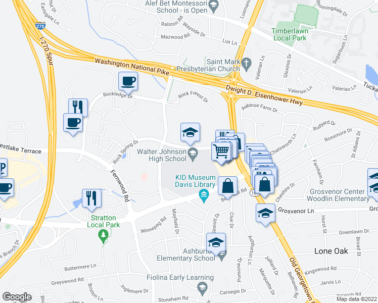 map of restaurants, bars, coffee shops, grocery stores, and more near 6401-6599 Rock Spring Drive in Bethesda
