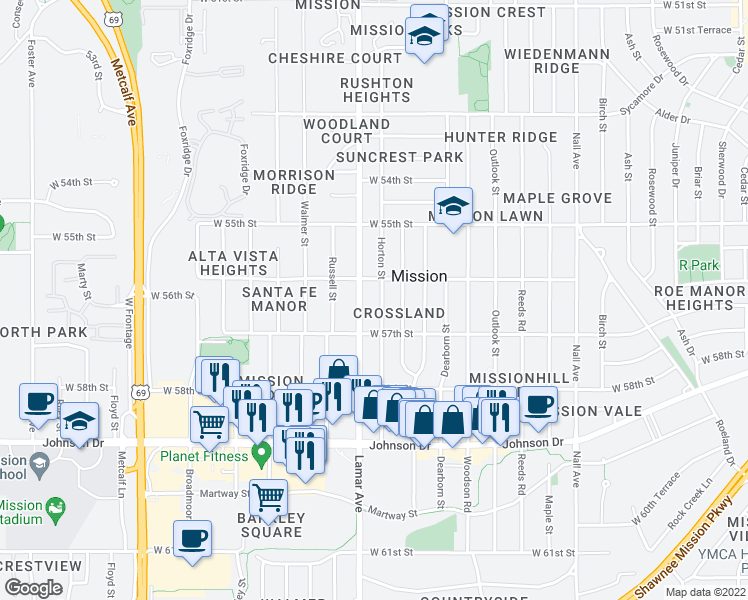 map of restaurants, bars, coffee shops, grocery stores, and more near 5618 Horton Street in Mission