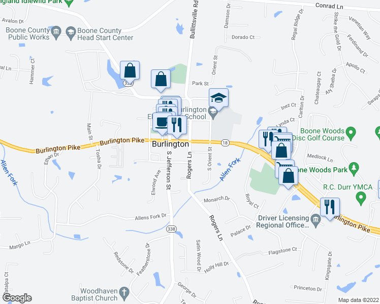 map of restaurants, bars, coffee shops, grocery stores, and more near 6025 Rogers Lane in Burlington