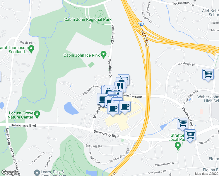 map of restaurants, bars, coffee shops, grocery stores, and more near 7340 Westlake Terrace in Bethesda