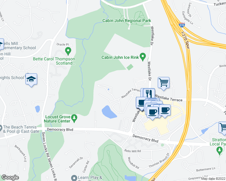 map of restaurants, bars, coffee shops, grocery stores, and more near 7507 Spring Lake Drive in Bethesda