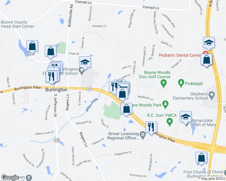 map of restaurants, bars, coffee shops, grocery stores, and more near 2604 Burlington Pike in Burlington
