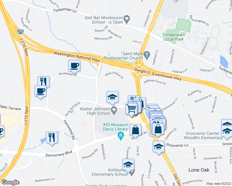 map of restaurants, bars, coffee shops, grocery stores, and more near 6425 Rock Forest Drive in Bethesda