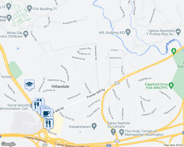 map of restaurants, bars, coffee shops, grocery stores, and more near 2123 Edgewater Pkwy in Silver Spring