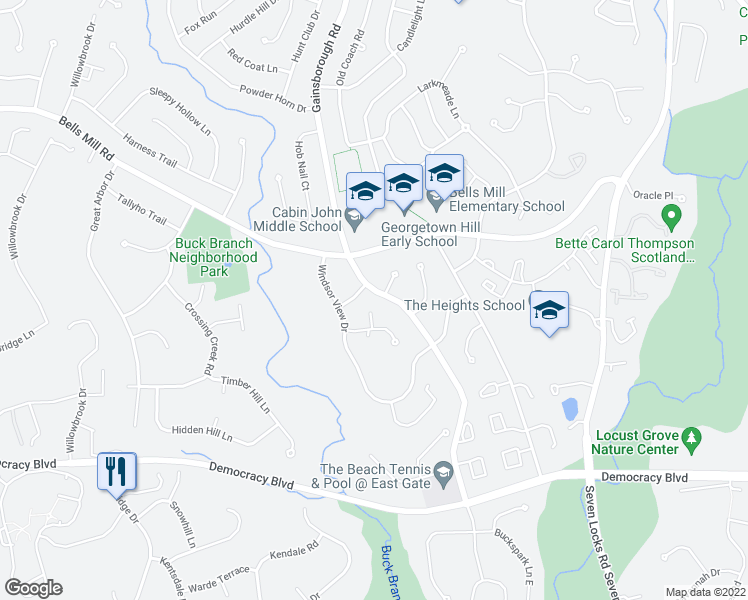 map of restaurants, bars, coffee shops, grocery stores, and more near 10600 Gainsborough Road in Rockville