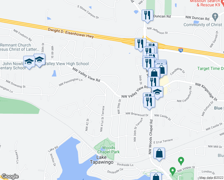 map of restaurants, bars, coffee shops, grocery stores, and more near 4046 Northwest Valley View Road in Blue Springs
