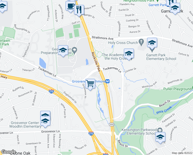 map of restaurants, bars, coffee shops, grocery stores, and more near 10500 Rockville Pike in Rockville