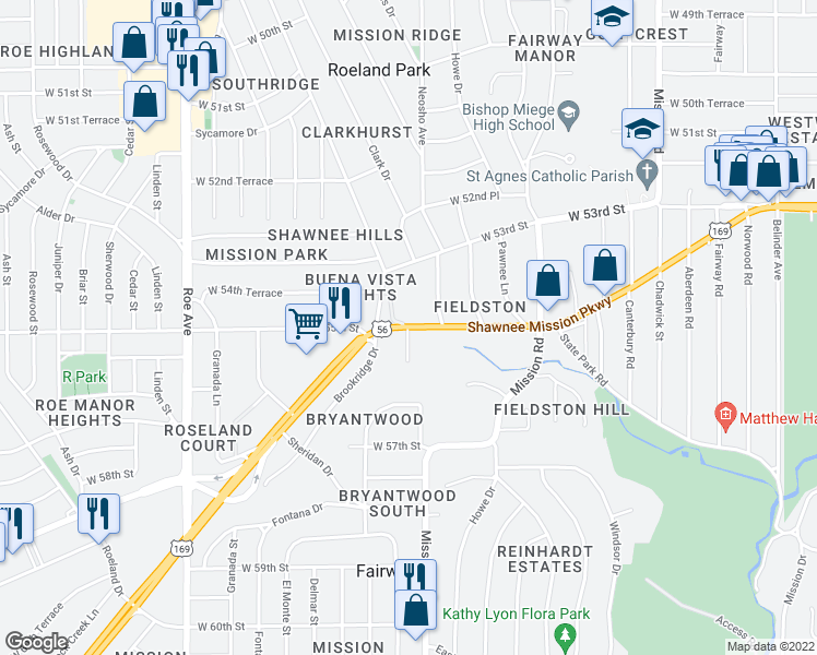 map of restaurants, bars, coffee shops, grocery stores, and more near 3948 Shawnee Mission Pkwy in Fairway