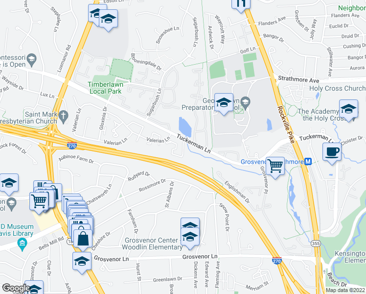 map of restaurants, bars, coffee shops, grocery stores, and more near 5701 Luxemburg Street in North Bethesda