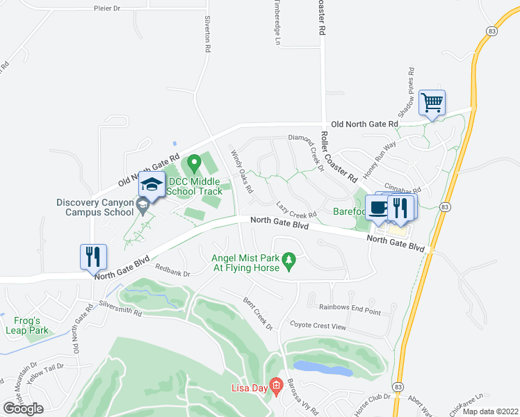 map of restaurants, bars, coffee shops, grocery stores, and more near 13764 Windy Oaks Road in Colorado Springs