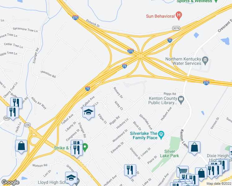 map of restaurants, bars, coffee shops, grocery stores, and more near 527 Rosary Drive in Erlanger