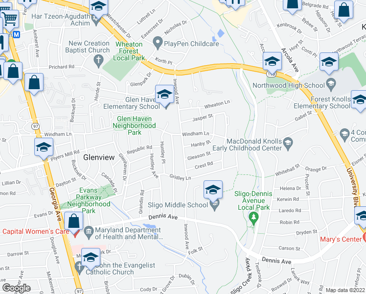 map of restaurants, bars, coffee shops, grocery stores, and more near 10703 Inwood Avenue in Silver Spring