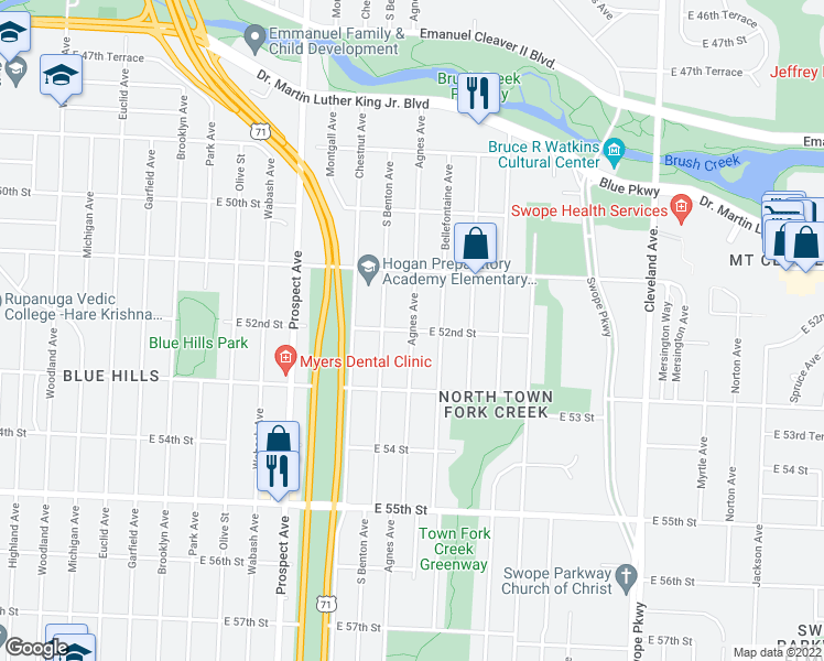 map of restaurants, bars, coffee shops, grocery stores, and more near Agnes Avenue in Kansas City