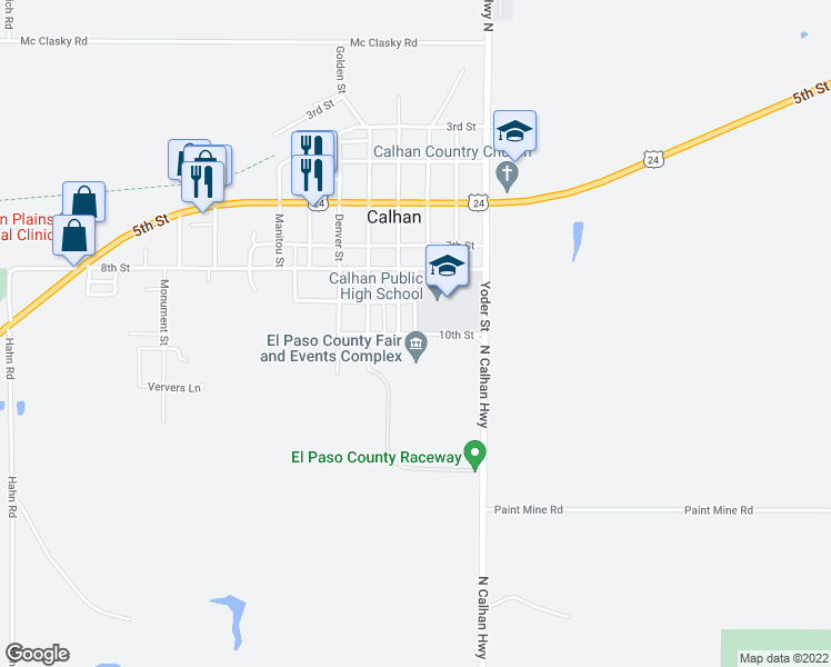map of restaurants, bars, coffee shops, grocery stores, and more near 366 10th Street in Calhan