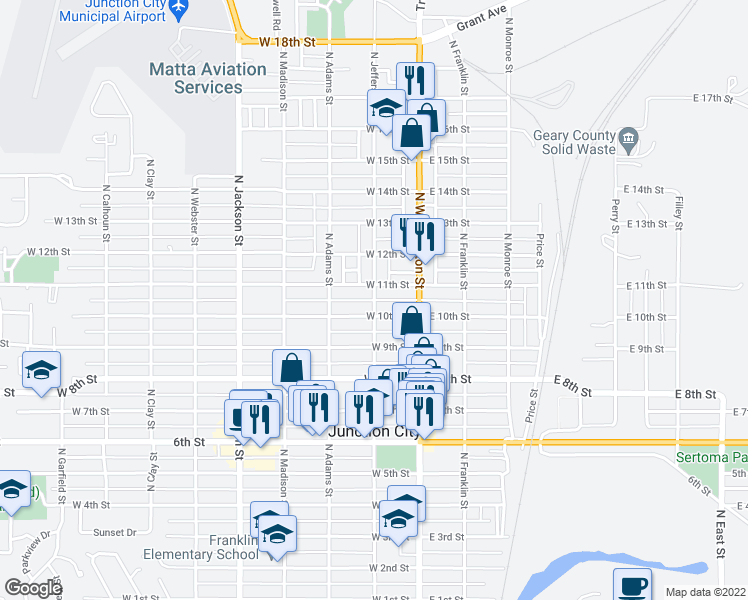 map of restaurants, bars, coffee shops, grocery stores, and more near North Jefferson Street in Junction City