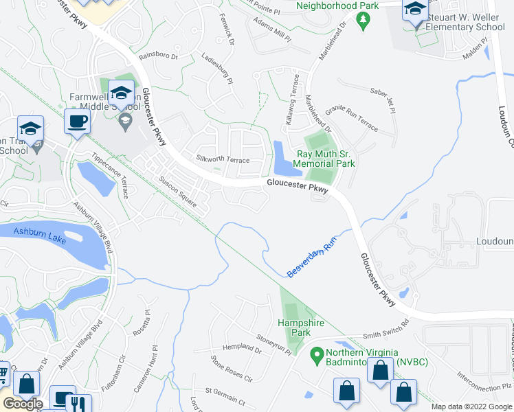 map of restaurants, bars, coffee shops, grocery stores, and more near 44406 Tillman Terrace in Ashburn