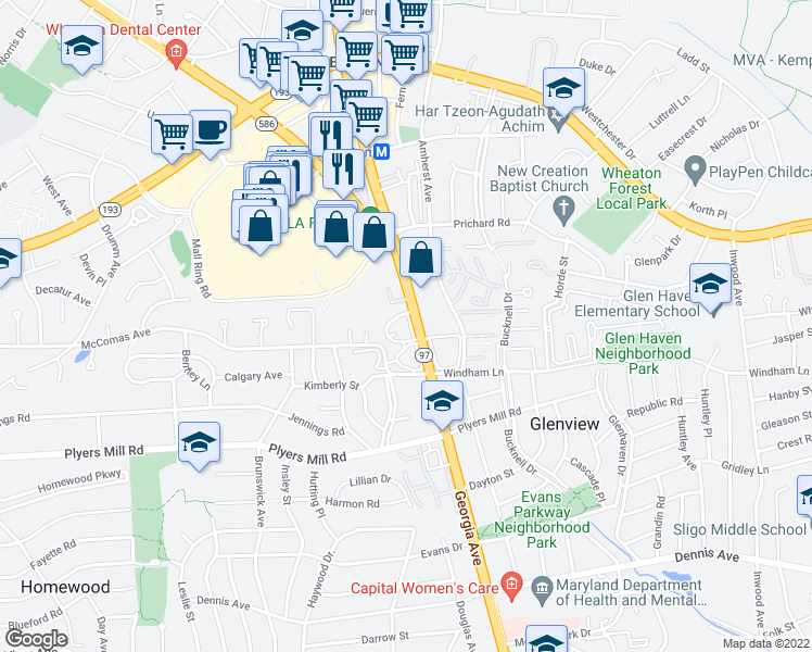 map of restaurants, bars, coffee shops, grocery stores, and more near 10820 Georgia Avenue in Silver Spring