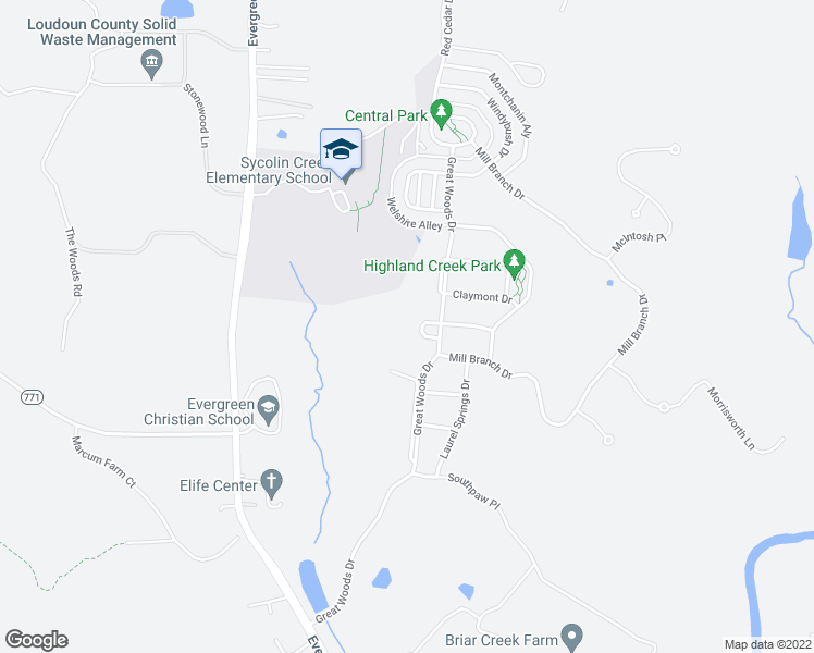 map of restaurants, bars, coffee shops, grocery stores, and more near 41279 Cliff Circle in Leesburg