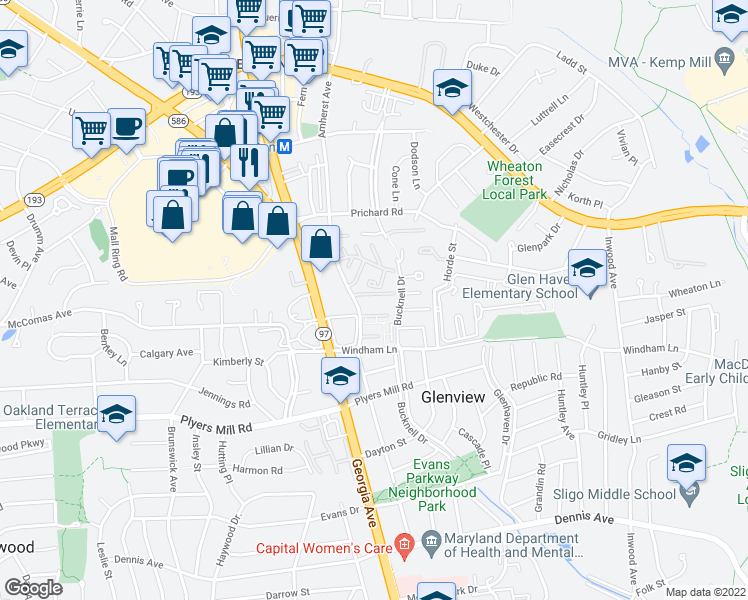 map of restaurants, bars, coffee shops, grocery stores, and more near 10851-10859 Amherst Avenue in Silver Spring