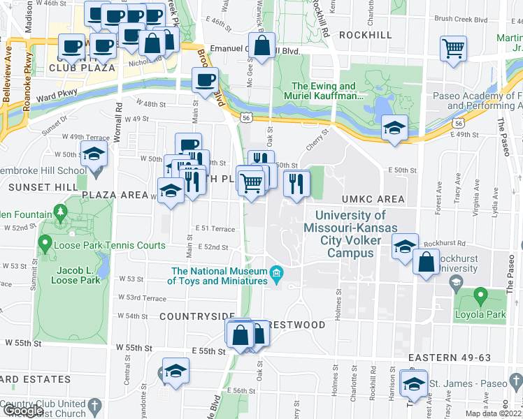 map of restaurants, bars, coffee shops, grocery stores, and more near 5100 Oak Street in Kansas City