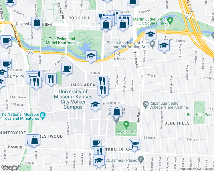map of restaurants, bars, coffee shops, grocery stores, and more near 5034 Forest Avenue in Kansas City