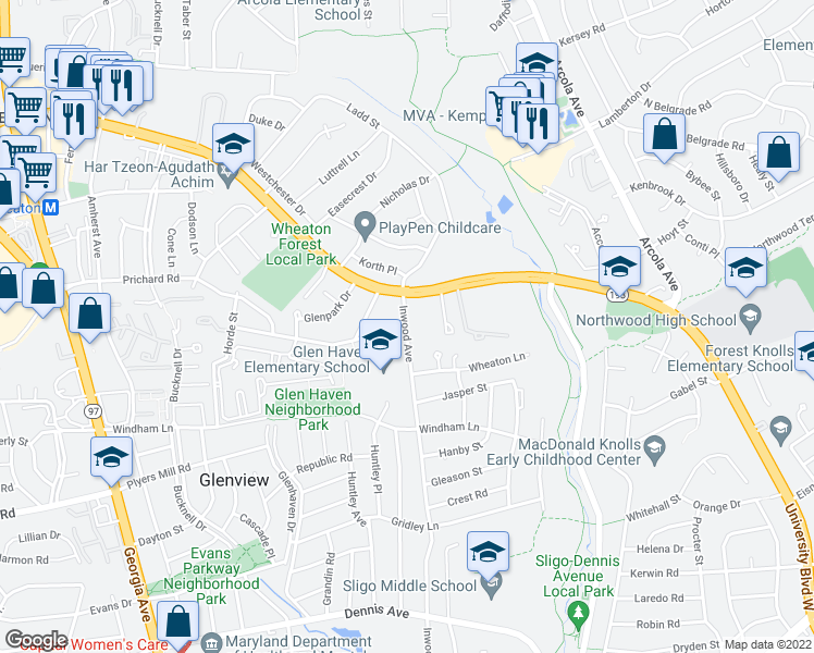 map of restaurants, bars, coffee shops, grocery stores, and more near 10904 Henlopen Court in Silver Spring