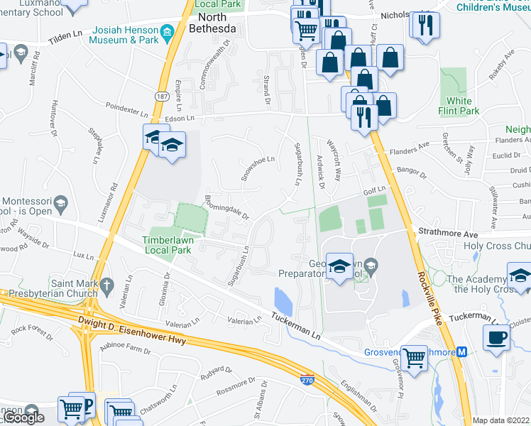 map of restaurants, bars, coffee shops, grocery stores, and more near Sugarbush Ln & Chapman Mill Dr in North Bethesda